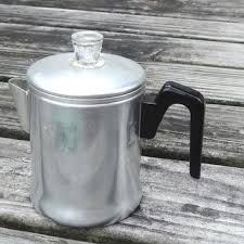 1950s Coffee Pot Maker Vintage Kitchen Decor Aluminum Mid Centur