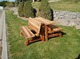 wooden picnic table with benches outdoorlivingdecor
