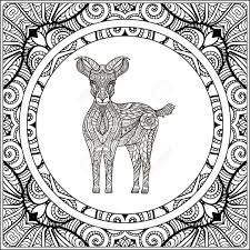 Goat On Pattern Background Coloring Book For Adult And Older Children Page