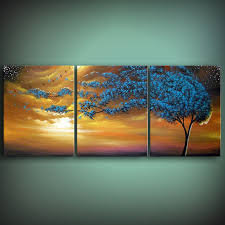 Art Original Painting Wind Blow Tree Abstract Acrylic 20 X 48