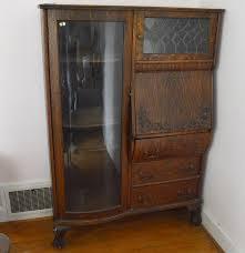Drop Front Secretary Desk Antique by Antique Secretary Desk With Bow Front Curio Cabinet Ebth