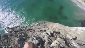 Death Wishes Man VERY Narrowly Misses Cliff Jump