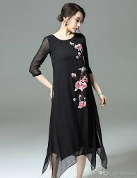 wholesale chinese style women summer dresses embroider flower real