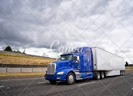100 Aerodynamic Semi Truck Classic Blue Big Rig Semi Truck With Dry Van Semi Trailer