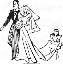 Bridal Clipart of a Retro Black and White Outline Girl Carrying the Train of a Brides