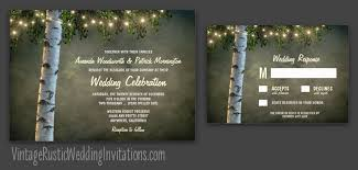 Birch Tree Wedding Invitations With String Lights And A Vintage