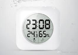 großhandel mode weiß lcd neue wasserdichte dusche badezimmer wanduhr temperatur thermometer hygrometer meter monitor luftfeuchtigkeit sn1378