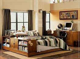 Teen Bedroom Wonderful Wooden Bed Frame With Built In Bookshelf For Boy Decorating Ideas Also Cool Emblem Board And Beige Wall Painted