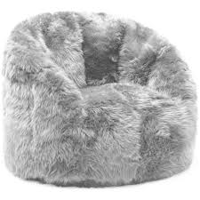 Comfort Research BeanSack Big Joe Milano Faux Fur Bean Bag Chair Ivory Beige Off White Size Large Poly Synthetic Fiber