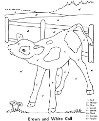 Printable Color By Number Coloring Pages Farm Baby Calf