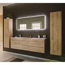 lomadox badmöbel set newland 02 spar set 4 tlg in eiche hell 153cm doppel waschtisch led spiegel 2 hochschränke b h t ca 263 200 47 cm
