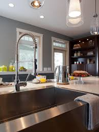 Apron Front Sink And Industrial Faucet With Quartz Countertop