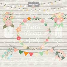 Rustic Wedding Clipart Shabby Chic Hand Drawn