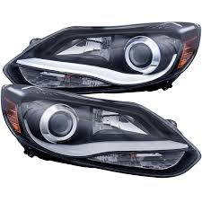 anzo usa ford focus 12 14 projector headlights black plank style