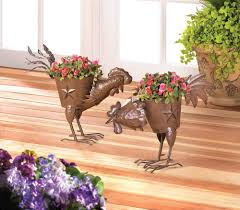 Metal Planters Outdoor Small Decorative Pecking Rooster Wrought