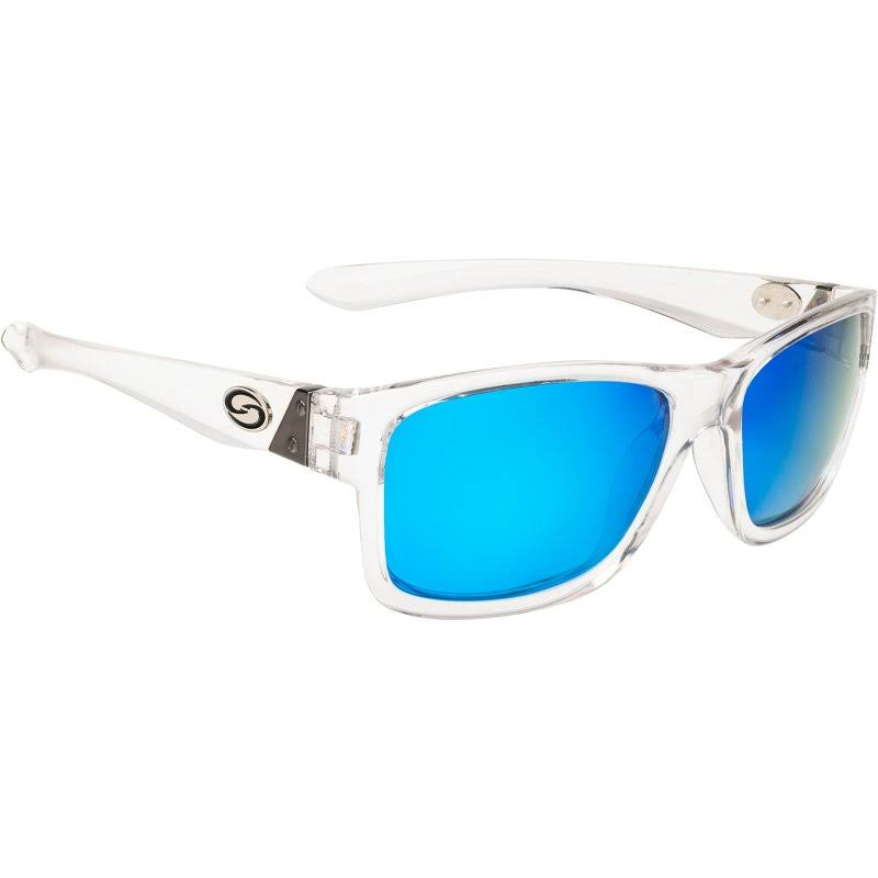 Strike King Plus Platte Sunglasses Clear Frame Blue Mirror