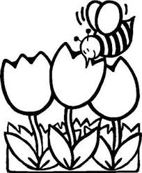 Bee Coloring Page For Kids With Flowers