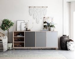 newroom sideboard conni sideboard eiche hirnholz grau modern vintage industrial highboard anrichte wohnzimmer kaufen otto