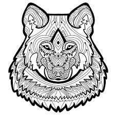 Download Coloring Page For Adults Strong Wolf Is Drawn By Hand With Ink Stock Vector
