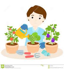 Happy Man Watering Plants Cartoon Stock Vector Illustration of