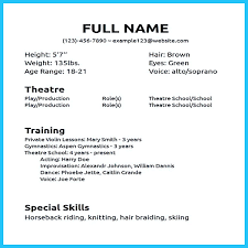 Acting Resume Special Skills List Sample Admission Letter