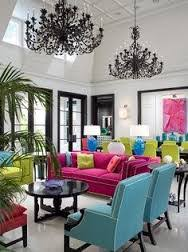 turquoise chairs yellow green chairs fuchsia pink sofa magenta