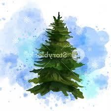 Watercolor Green Tree Vector Catchsplace