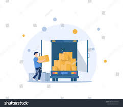 100 Packing A Moving Truck Boxes Back Side Loading Stock Vector Royalty