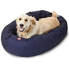 amazon com 52 inch chocolate suede bagel dog bed by majestic pet