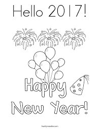 Hello 2017 Coloring Page