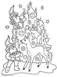 Christmas Tree And Elves Coloring Pages For Kids