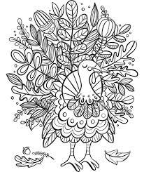 Turkey Foliage Coloring Page