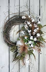 Indoor Wreaths Home Decorating Primitive Cotton Boll Wreath Raw