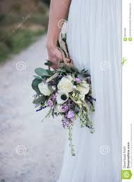 Close Up Of Rustic Bouquet In The Hand Her Bride