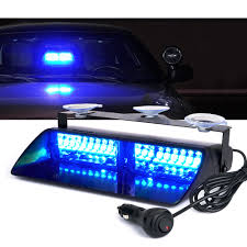 White 16 LED Blue Strobe Lights For Dash / Windshield With Suction ...