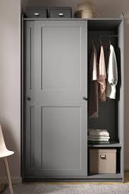 hauga kleiderschrank mit schiebetüren grau 118x55x199 cm