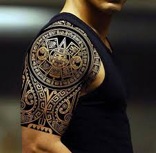 Beautiful Intricately Carved Aztec Tribal Shoulder Tattoo Ideas For Men