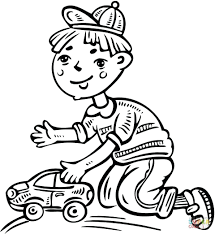 Raven And Beast Boy Coloring Pages Little Playing Toy Car Page Baby Full Size