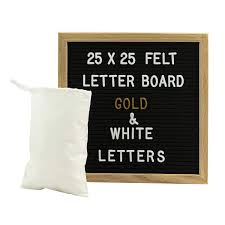 Gadgy Felt Letter Board 10x10 Inch Retro Wood With 340 White