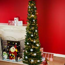 6ft Slim Christmas Tree by 6ft Slim Christmas Tree Bundle With White Cluster Lights U0026 Baubles