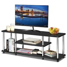 Tangkula 3Tier TV Stand LED And Flat Panel TV Entertainment TV Stand With Stainless Steel Frame EPA Listed Universal TV Stand Suits For LCD Simple