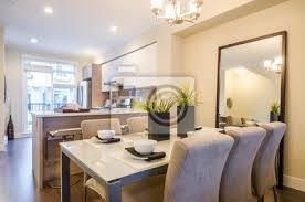 fototapete moderne helle esszimmer mit küche in einer luxus wohnung innenarchitektur