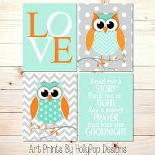 Cool Owl Nursery Decor Ery Art Prints Owl Ery Wall Decor Mint