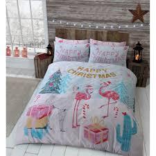 Flamingo Christmas Tree Present Festive Winter Multi Colour Duvet Set Bedding Single 452101