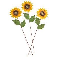 Sunflower Bath Towel Set by Metal Sunflower Stakes By Maple Lane Creations Set Of 3 Miles