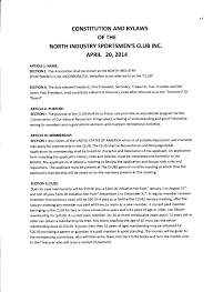 Constitution and Bylaws – North Industry Sportsmen s Club