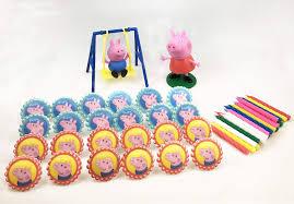 othrando 48 pieces peppa pig cupcake topper peppa pig theme