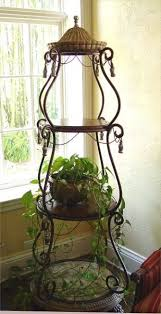 Alton Bronze Torchiere Floor Lamp by Wrought Iron Plant Stand Chippy Rusty Faded Fabulous