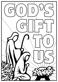 Kids Color Pages Manger Scene