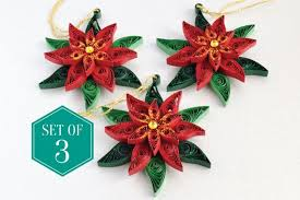 3 Christmas Tree Decorations Poinsettia Holiday